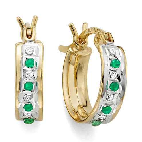 Genuine Emerald & Diamond Accent 18K Yellow Gold Over Silver Hoop Earrings