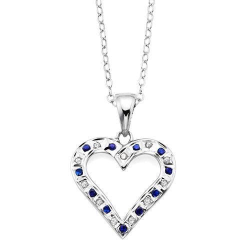 Genuine Blue Sapphire & Diamond Accent Platinum Over Silver Heart Pendant