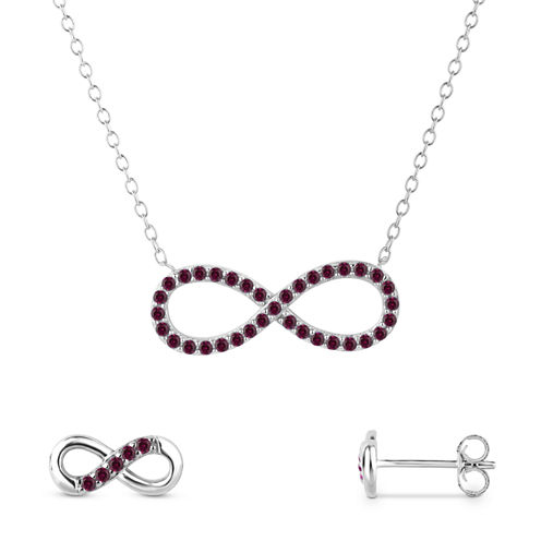 Simulated Ruby Sterling Silver 2-Piece Necklace & Earrings Set