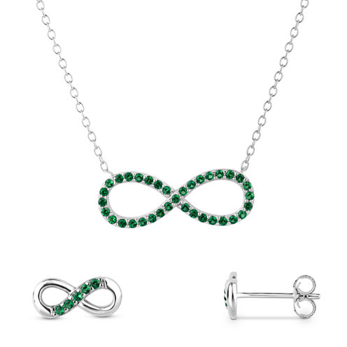 Simulated Emerald Sterling Silver 2-Piece Necklace & Earrings Set