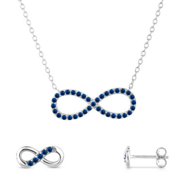 jcpenney.com | Simulated Blue Sapphire Sterling Silver 2-Piece Necklace & Earrings Set