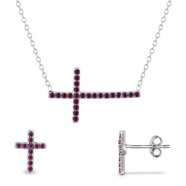 jcpenney.com | Simulated Ruby Sterling Silver 2-Piece Necklace & Earrings Set