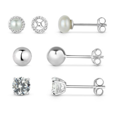 jcpenney.com | Lab-Created White Sapphire Sterling Silver Earring Jackets With 5MM Pearl, 5MM Sterling Silver Ball, and 5MM Lab-Created White Sapphire 4-Piece Earrings Set