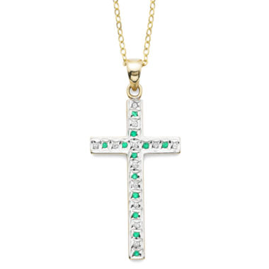 jcpenney.com | Genuine Emerald and Diamond-Accent Gold Over Sterling Cross Pendant