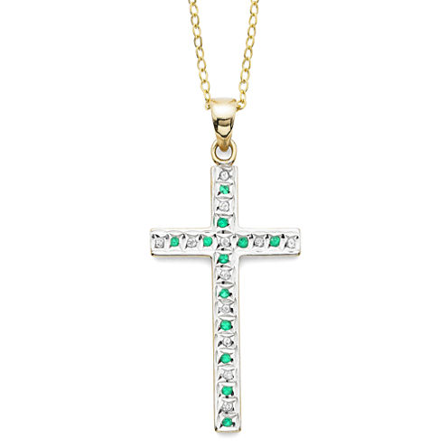 Genuine Emerald and Diamond-Accent Gold Over Sterling Cross Pendant