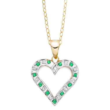 jcpenney.com | Genuine Emerald and Diamond-Accent Gold Over Sterling Heart Pendant