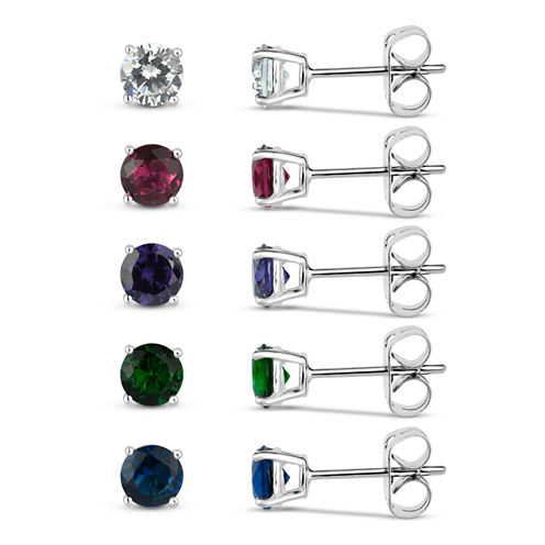 Sterling Silver 5mm Round Simulated Gemstone 5 Earring Pair Set