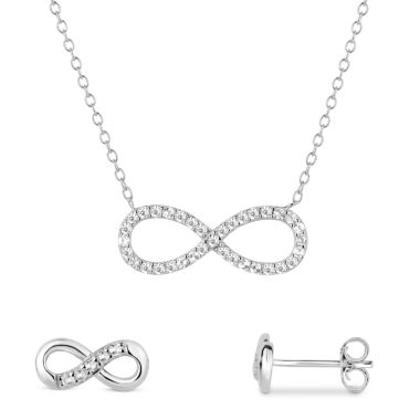 jcpenney.com | Simulated White Topaz Sterling Silver Necklace & Earrings 2 Piece Set