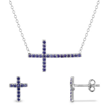 jcpenney.com | Simulated Amethyst Sterling Silver Necklace & Earrings 2 Piece Set