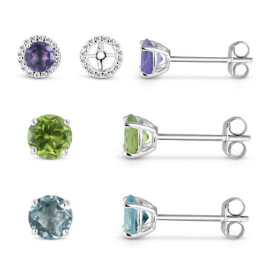 jcpenney.com | Lab Created White Sapphire Earring Jackets with Multi-Gemstone Sterling Silver 4-Piece Earrings Set