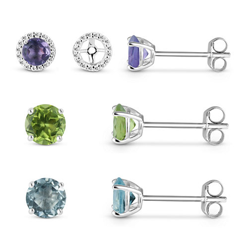 Lab Created White Sapphire Earring Jackets with Multi-Gemstone Sterling Silver 4-Piece Earrings Set