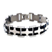 Mens Stainless Steel & Black IP Cross Chain Bracelet