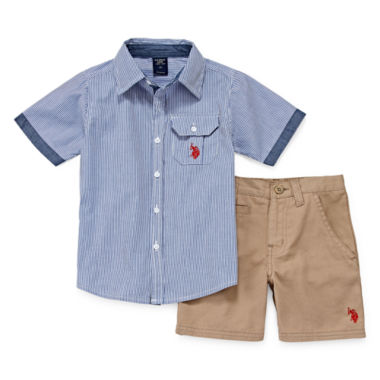 jcpenney.com | U.S. Polo Assn.® 2-pc. Shirt and Twill Shorts Set - Toddler Boys 2t-5t