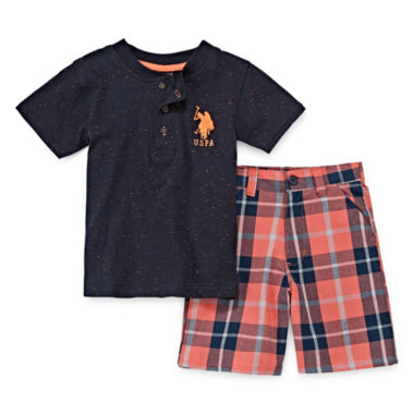 jcpenney.com | U.S. Polo Assn.® 2-pc. Henley Tee and Shorts Set - Toddler Boys 2t-5t