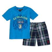 U.S. Polo Assn.® 2-pc. V-Neck Tee and Shorts Set - Toddler Boys 2t-5t