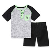 U.S. Polo Assn.® 2-pc. Henley Tee and Shorts Set - Toddler Boys 2t-5t