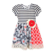 Rare Editions Short-Sleeve Mixed-Print Dress - Toddler Girls 2t-4t