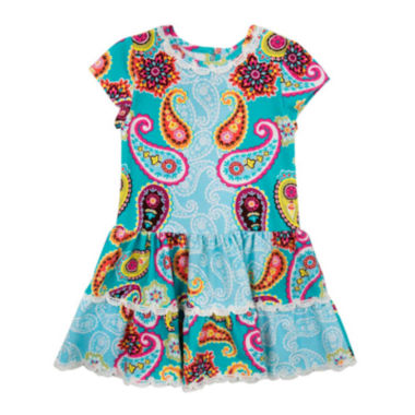 jcpenney.com | Rare Editions Cap-Sleeve Paisley-Print Dress - Toddler Girls 2t-4t