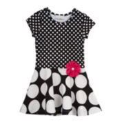 Rare Editions Short-Sleeve Polka Dot Skater Dress - Toddler Girls 2t-4t