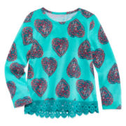 Arizona Long-Sleeve Crochet Trim Top - Toddler Girls 2t-5t