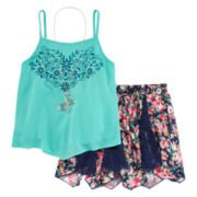 Beautees 2-pc. Faux Embroidered Tank Top with Floral and Lace Skirt with Necklace - Girls 7-16