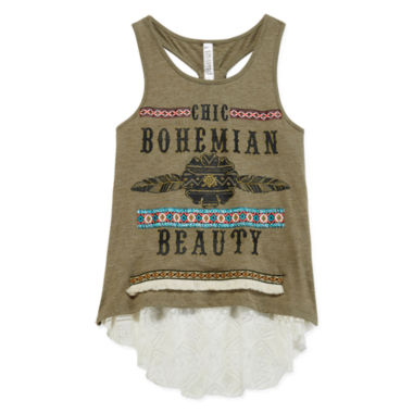 jcpenney.com | Beautees 2-pc. Graphic Racerback Tank Tops with Bottom Lace Detail - Girls 7-16