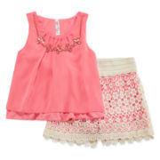 Beautees 2-pc. Chiffon Top and Crochet Skort with Necklace Set - Girls 7-16