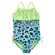 Breaking Waves Leopard 1-pc. Swimsuit - Preschool Girls 4-6x