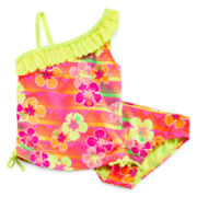 Breaking Waves Sunset Tropics Tankini - Preschool Girls 4-6x
