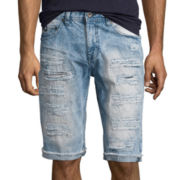Southpole® Ripped Slim-Fit Denim Shorts