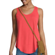 Self Esteem® Sleeveless Layered Tank Top with Purse