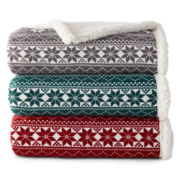 JCPenney Home™ Fairisle Sherpa Throw