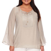 Alyx® 3/4-Sleeve Gauze Top with Grid Detailing - Plus