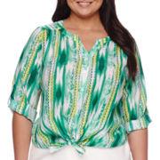 Alyx® 3/4-Sleeve Tie Front Print Top - Plus
