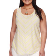 Alyx® Chevron Print Tank Top with Necklace - Plus