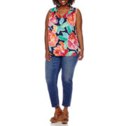 Liz Claiborne® Ruffle Tank Top or Skinny Ankle Jeans