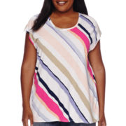 Liz Claiborne® Extended-Shoulder Diagonal-Stripe Butterfly-Back Tee - Plus