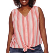 Liz Claiborne® Sleeveless Button-Down Tie-Front Blouse - Plus