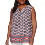 Liz Claiborne® Sleeveless Button-Front Blouse - Plus