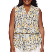 Liz Claiborne® Sleeveless Wrap-Front Peplum Top - Plus