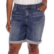 Liz Claiborne® Boyfriend Roll Cuff Shorts - Plus