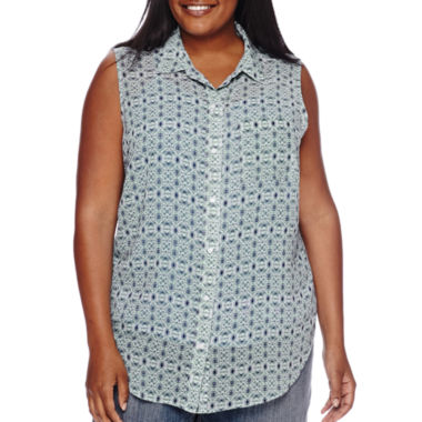 jcpenney.com | Liz Claiborne® Sleeveless Button Front Blouse - Plus