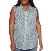 Liz Claiborne® Sleeveless Button Front Blouse - Plus