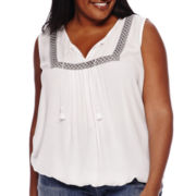 Liz Claiborne® Sleeveless Banded Hem Embroidered Shell Top - Plus