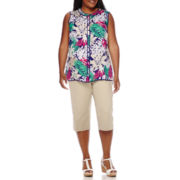 Liz Claiborne® Sleeveless Button-Front Blouse, Belted Cropped Pants - Plus