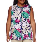 Liz Claiborne® Sleeveless Button-Front Blouse - Plus