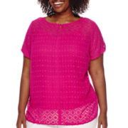 Liz Claiborne® Short-Sleeve Textured Tee - Plus