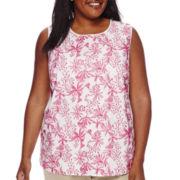 Liz Claiborne® Sleeveless Front Overlay Shell - Plus