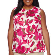 Liz Claiborne® Sleeveless Bubble Blouse - Plus