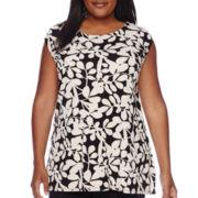 Liz Claiborne® Extended Shoulder Swing Top - Plus